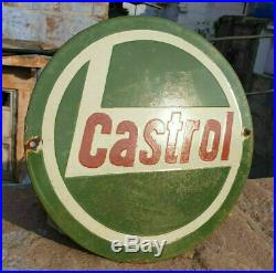 Original Rare 1930's Old Antique Vintage Castrol Ad. Porcelain Enamel Sign Board