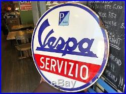 Original VESPA Enamel Sign Porcelain SERVICE 1950s Vintage Mint Scooter RARE