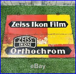 Original Vintage 1930s Zeiss Ikon Camera Film Advertisement Enamel Sign Germany