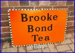 Original Vintage 1940's BROOKE BOND TEA Enamel Advertising Sign 30 x 20
