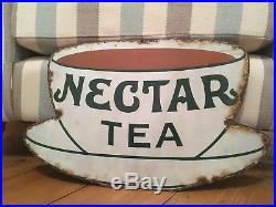 Original Vintage Antique Nectar Tea Teacup Enamel Advertising Sign