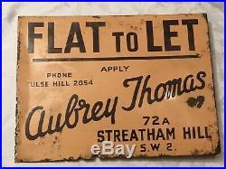 Original Vintage Double Sided Enamel Sign Flat to Let -24cm x 18cm Streatham