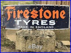Original Vintage Enamel Firestone Tyres Sign