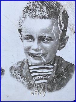 Original Vintage Enamel Frys Chocolate Five Boys Enamel Sign