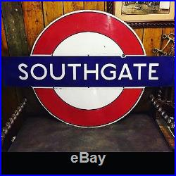 Original Vintage Enamel SOUTHGATE London Underground Sign