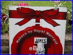 Original Vintage Large 1950s ENAMEL 2-SIDED JONES' SEWING MACHINES SIGN