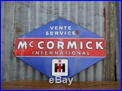 Original Vintage McCormick International Tractor Dealer/Shop Large Enamel Sign
