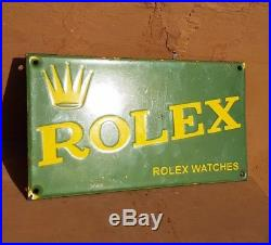 Original Vintage Old Antique Rare ROLEX Watches Ad Porcelain Enamel Sign Board