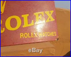 Original Vintage Old Very Rare ROLEX Watches Ad Red Porcelain Enamel Sign Board