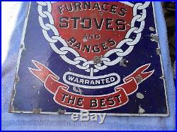 Original Vintage Porcelain Enamel Peninsular Stove Furnaces Dealer Flange Sign