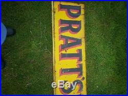 Original Vintage Pratts Enamel Advertising Sign