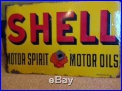 Original Vintage Shell Enamel Advertising Sign