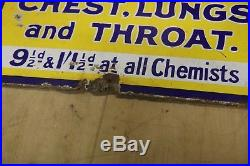 Original Vintage Venos Cough Cure Enamel Advertising Sign