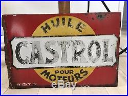 Original double sided rare French Castrol Enamel Sign Vintage 2CV Citroen H Van