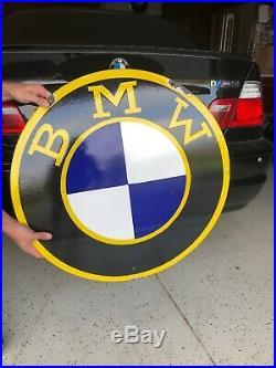 Pair Of Vintage BMW Porcelain Dealer Enamel Metal sign 30x30 (LARGE)