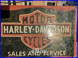 RARE 1930's Old Vintage Harley Davidson Motorcycle Porcelain Enamel Sign Board