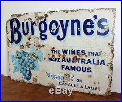 RESERVED Burgoyne's wine enamel sign advertising decor mancave metal vintage