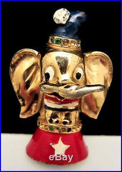 Rare 40's Vintage 2 Signed Coro Walt Disney Dumbo Circus Elephant Fur Clip A7