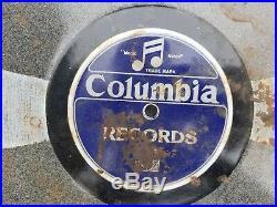 Rare Antique 78 Columbia Records Antique Enamel Shop Store Sign Vintage