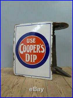 Rare Original Antique Vintage Coopers Dip Enamel Advertising Sign