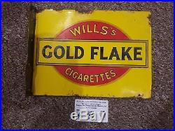 Rare Small Double Sided Enamel Sign. Antique Vintage. Wills Gold Flake Lil Beaut