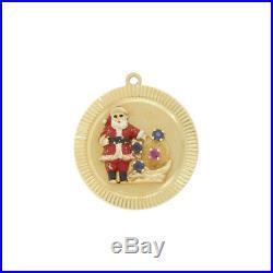 Rare Vintage 14k Gold Enamel Christmas Holiday Santa Charm Signed HENRY DANKNER