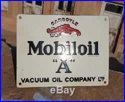 Rare Vintage 1930's Old Antique Mobil Oil A Adv. Porcelain Enamel Sign Board