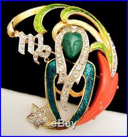 Rare Vintage 2 Signed DeNicola Enamel Jeweled Zodiac Virgo Figural Brooch Pin