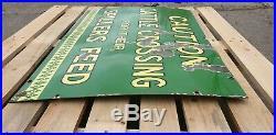 Rare Vintage Antique Spillers Feed Advertising Enamel Metal Sign Barn Find