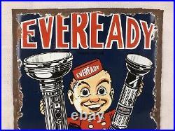 Rare Vintage Eveready Battery enamel sign 1920s