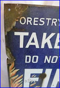 Rare Vintage Forestry Commission'take Care' Fire Enamel Sign