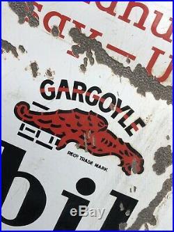Rare Vintage Gargoyle Mobiloil Enamel Sign Over 600 Motor Manufacturers Say Use