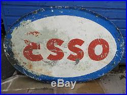 Rare Vintage Genuine Double Sided Enamel Esso Garage Advertising Sign