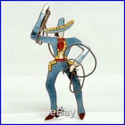 Rare Vintage Margot De Taxco Mexico Sterling/enamel Cowboy Vaquero Pin Signed