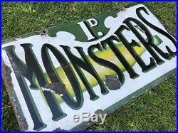 Rare Vintage Monsters Lemonade Enamel Sign Old Porcelain Advertising Sign