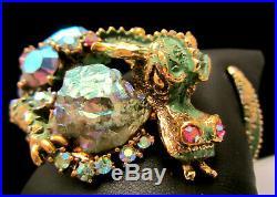 Rare Vintage Signed HAR Fantasy Green Enamel Jeweled Dragon Clamper Bracelet A18