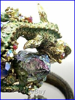 Rare Vintage Signed HAR Fantasy Green Enamel Rhinestone Dragon Clamper Bracelet