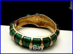 Rare Vintage Signed Hattie Carnegie Green Enamel Seahorse Clamper Bracelet A46