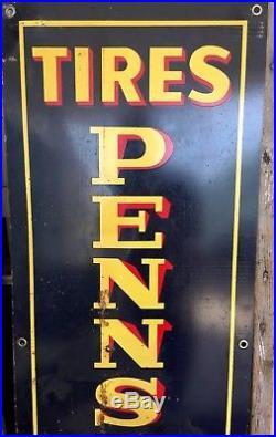 Rare Vintage Vertical Enamel Pennsylvania Tire Sign Oil Gasoline gasoline oil