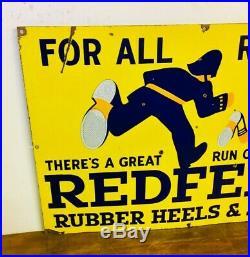 Redfern rubber heels enamel sign advertising decor mancave garage metal vintage