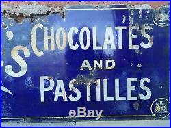 Rowntrees Chocolates & Pastilles Vintage Original Enamel Sign very large