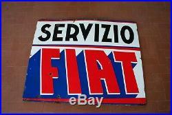 SERVIZIO FIAT Insegna vintage Targa smaltata anni 50 Fiat Enamel sign 50s