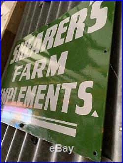 SHEARERS FARM IMPLEMENTS Vintage Australian Enamel Agricultural Sign MINT