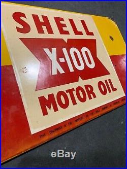 SHELL X-100 Genuine Vintage Enamel Oil Rack Sign