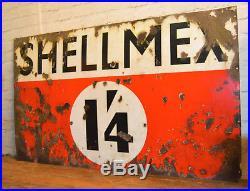Shell Mex 1'4 enamel sign early advertising decor mancave garage metal vintage