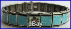 Signed Vintage Sterling Silver Light Blue Enamel Pink Rose Link Bracelet