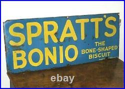 Spratt's Enamel Sign The Bone Shaped Biscuit 1930's Early Vintage, Pets Dog Food