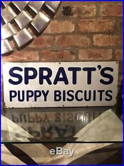 Spratts Enamel Sign Original Old Advertising Antique Vintage Collectable Dog