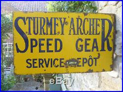 Sturmer Archer Speed Gear Service Dept. D. Sided Vintage Original Enamel Sign