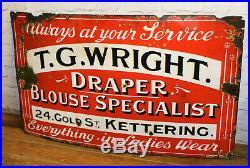 T. G. WRIGHT haberdashery enamel sign advertising decor garage metal vintage